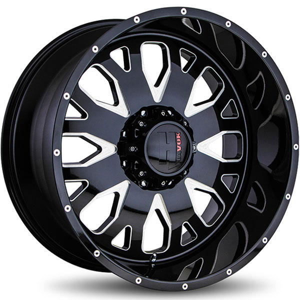 Havok Off-Road H104 Gloss Black with Milled Rivets