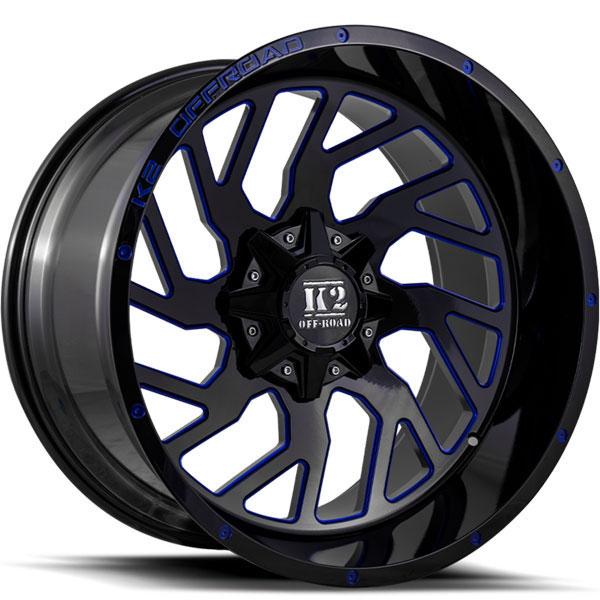 K2 OffRoad K12 Shockwave Gloss Black with Blue Milled Spokes