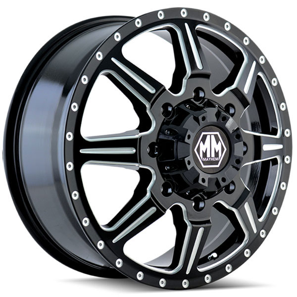 Mayhem Monstir Dually Black with Milled Spokes Front
