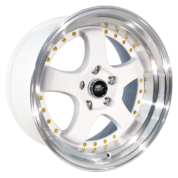 MST MT07 White with Machined Lip and Gold Rivets
