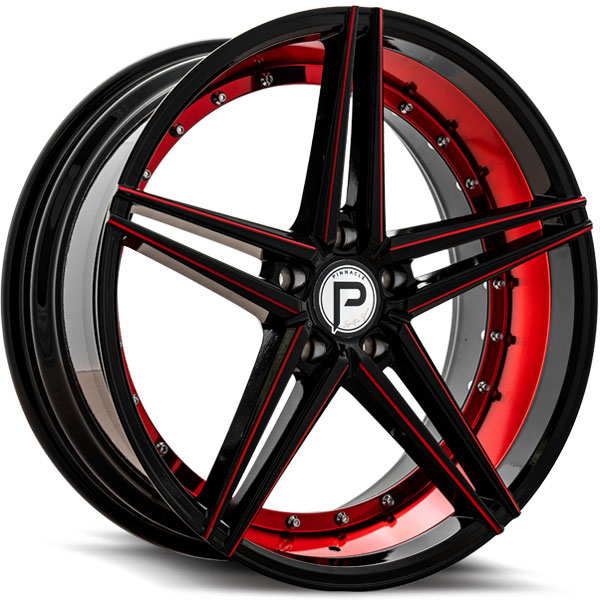 Pinnacle P206 Savage Gloss Black with Inner Red Milled Spokes