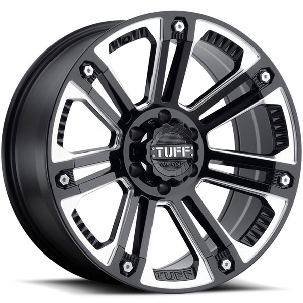 Tuff T22 Gloss Black with Milled Spokes and Stainless Steel Bolts