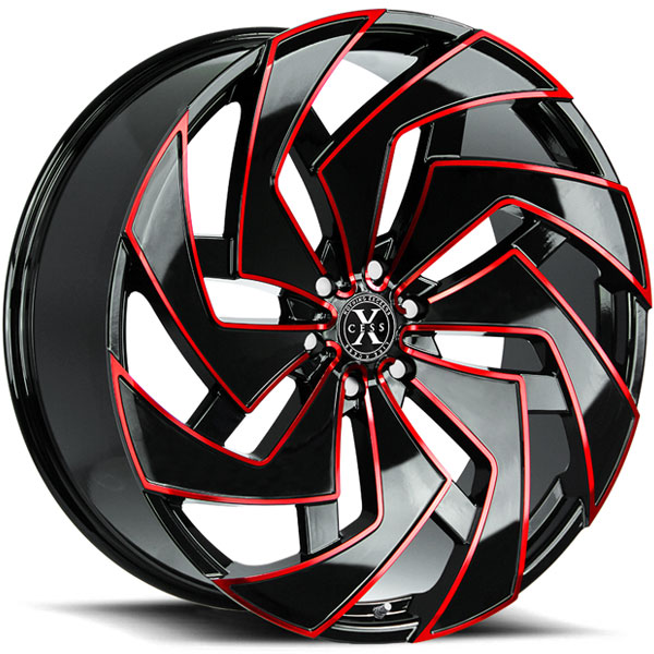 Xcess X04 Gloss Black with Red Milled