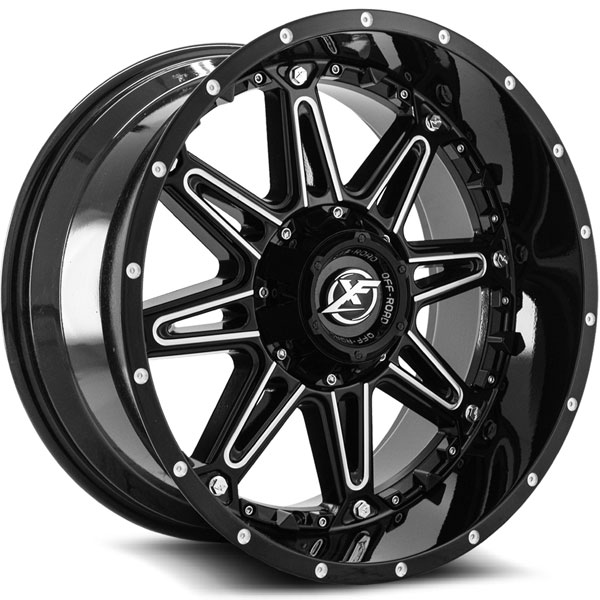XF Off-Road XF-217 Gloss Black with Milled Spokes
