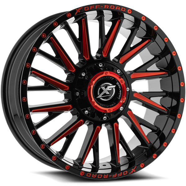 XF Off-Road XF-226 Gloss Black with Red Milled Spokes